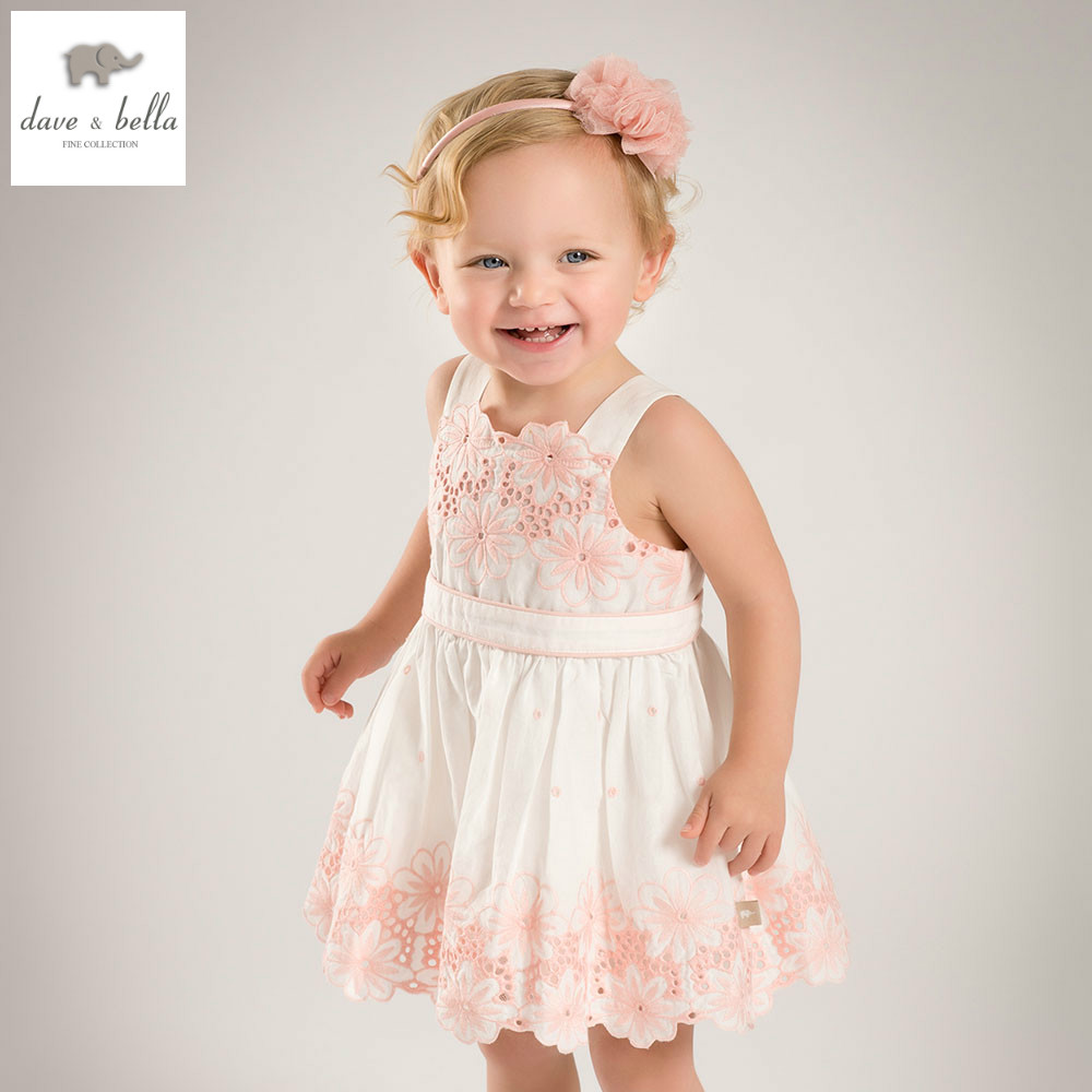DB5167 dave bella summer baby girls flowers dress wedding dress baby sweet princess dress kids birthday party kids costumes<br>