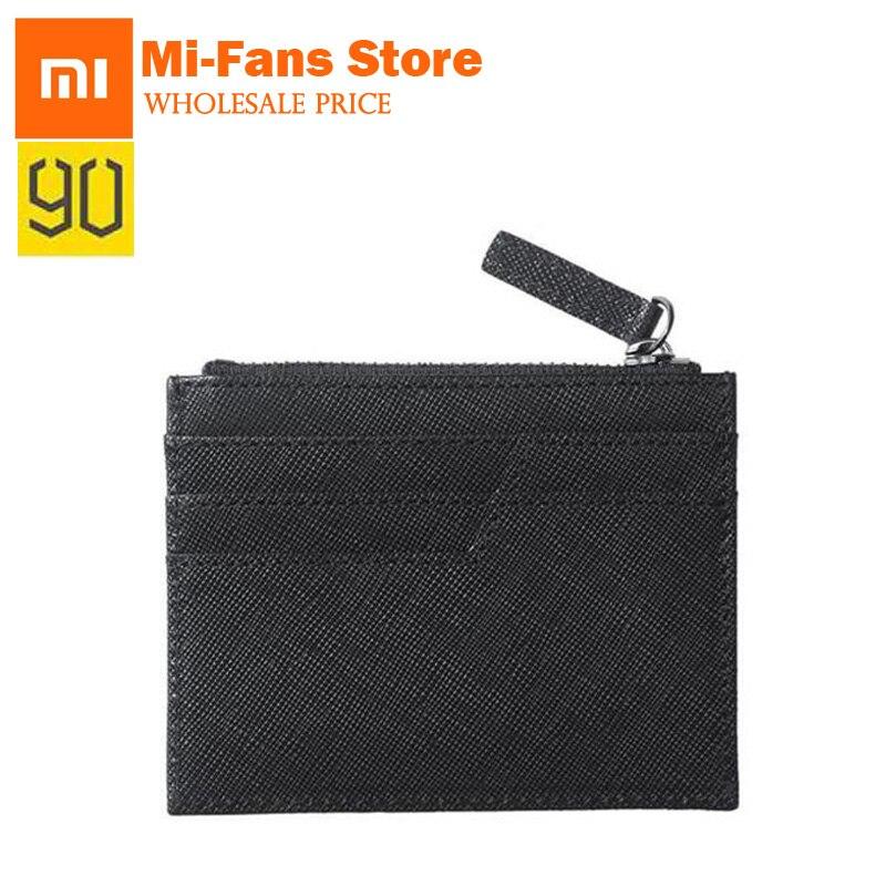 90 Points Xiaomi Zero Wallets Genuine Cow hide Purse Men's Wallet Standard Wallets Fashion Zipper Wallets Card Holder Black