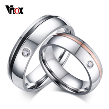 Vnox Classic Simple Line Wedding Rings for Women Men AAA CZ Stone Couple Promise Band Alliance Anniversary Bijoux(China)