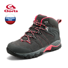 (Shipped From USA Warehouse)2017 Clorts Women Hiking Boots Waterproof Outdoor Shoes Cow Suede For Women HKM-822BE