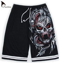 TASTIEN New Brand Luminous Mens Shorts verano Lobo calavera impresión algodón Shorts fluorescentes personalizados Noctilucent Boys Shorts(China)