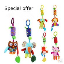 Baby Rattles & Mobiles with Teether baby toys dog/Elephant/owl/monkey/lion/Cat animals dolls Stroller crib hanging wind chimes
