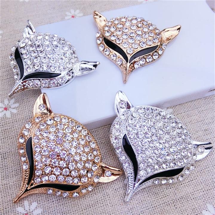 4  Fox Headed Rhinestone Jewelry Findings Alloy Handmade Craft For Bracelet Necklace Jewelry Making Decor Diy Accessories