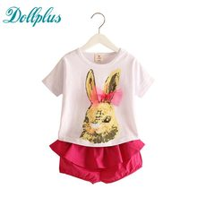 kids clothes 2017 summer Cute rabbit pattern girls clothes sets white Bunny t-shirts + rose red shorts two piece suit baby girls