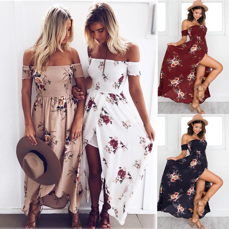 LOSSKY Off Shoulder Vintage Print Maxi Summer Dress 18