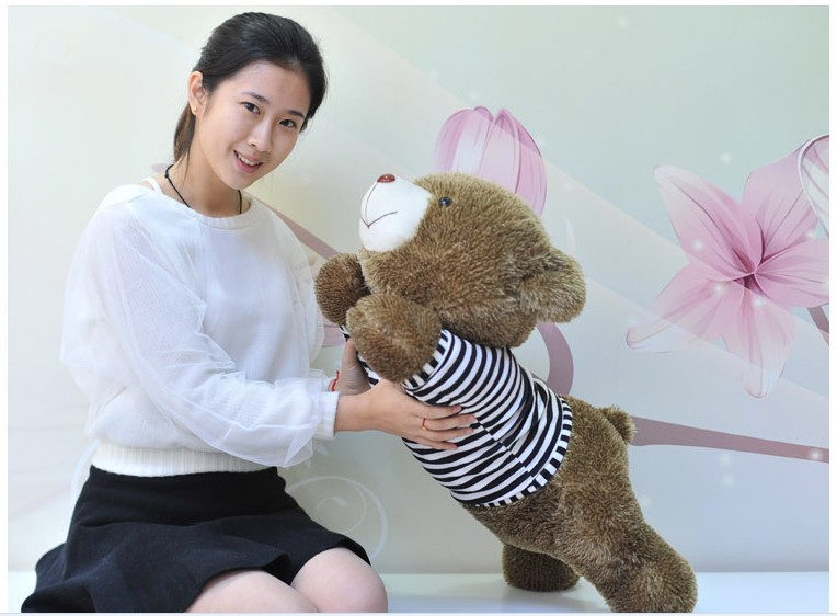 The lovely lying Teddy bear doll blue stripe cloth plush bear toy gift toy about 80cm<br>