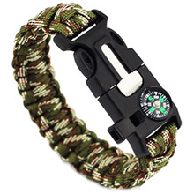 5 in1 Outdoor Camping Men Bracelet Rescue Paracord Survival Gear Escape Cord Wristbands Emergency Rope Flint Whistle Buckle Kits