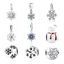 100% Authentic 925 Sterling Silver Winter Snowflake Pendant Charm Fit Original Pandora Beads Bracelet Necklace Jewelry Gift
