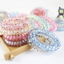 New fashion Clear Elastic Rubber Hairband Phone Wire Hair Tie Rope Band Ponytail Hair Accessories for Women Lady Girl
