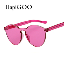 HapiGOO Women Rimless Cat Eye Sunglasses Fashion Ladies Brand Designer Candy Color Clear Lens Sun Glasses For Female Sunglasses