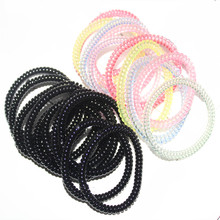 100 pcs/pack New High elastic Candy colored telephone line hair ring Accessories horsetail rope spring rubber band headwear(China)
