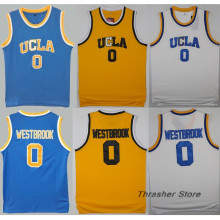Russell Westbrook #0 UCLA Blue/White/Yellow Retro Throwback Stitched Basketball Jersey Sewn Camisa Embroidery Logos