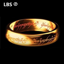 2017 Midi Ring Tungsten One Ring of Power Gold the Movie of Ring Lvers Women and Men Fashion Jewelry Wholesale Free Drop ship(China)