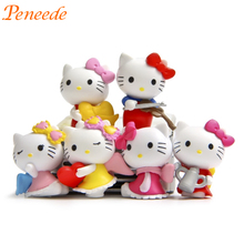 2017 New 6pcs Cute Hello Kitty Figurine Toy Kids Party Favors Decoration Supplies Lovely Girls Birthday Gift Pinata Filler 3.5cm
