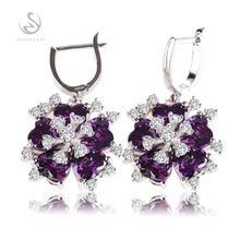 SHUNXUNZE Purple Cubic Zirconia flower Best Sellers cute Silver Plated Earrings First class products Promotion Beautiful RK509