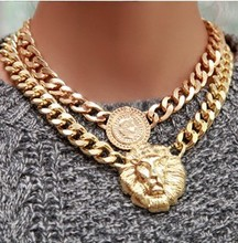 Min.order $10(Mix Item) SPX2775 Promotion Fashion Exaggerated jewelry Lion Metal Alloy Necklace Chain Pendant Jewelry(China)