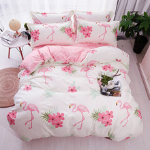 HOT Sale Fashion Luxury pink flamingos Cartoon Printing Double king queen Pattern Bedding sets Duvet cover Flat sheet Pillowcase(China)