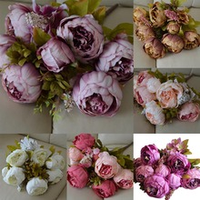 13 Heads(6 flower heads)European Style Fake Artificial Peony Silk Decorative Party Flowers For Home Hotel Wedding Garden Decor(China)