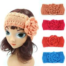 2016 New 10pcs/lot Winter Girls Headband Crochet Headwrap Knitted Flower Hair Band Ears Warmer Cute kids turban Hair Accessories