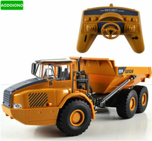 RC Truck Big Dump Truck Engineering Vehicles Loaded Sand Car with LED Light and Operation Voice Toy for Kids Gift(China)
