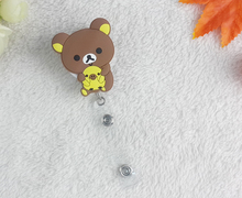 1pcs Cute Cartoon Rilakkuma Retractable Pull Reel ID Card Badge Name Tag Holder Recoil Reel For School Office Company