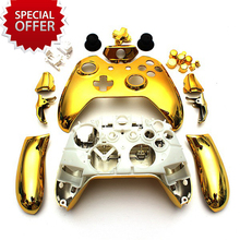 5Set Gold Chrome Full Housing Shell Wireless Game Controller Case with buttons for Xbox One 3.5mm headset jack