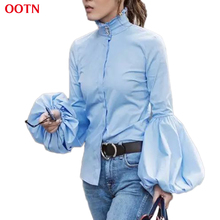 OOTN Long Wide Lantern Sleeve Blue Blouse Women Button Down Blouses Shirts Female 2017 Autumn Winter Fashion Tops Turtleneck(China)