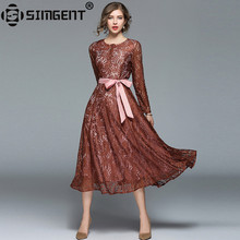 Buy Simgent 2018 New Spring Fashion Vintage Elegant Long Lace Flared Dress Women Clothing Vestido Tunique Femme Kleider Damen SG8172 for $26.22 in AliExpress store