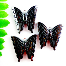 2017 Rushed Direct Selling Stone Chrysocolla Kolye Collares 6pcs Pretty Carved Butterfly Hematite Pendant Bead 32x31x5mm