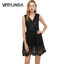 VESTLINDA Sexy Lace Dress Sleeveless V Neck Elegant Sundress Red Black Dress Women Summer Mini A Line Party Dresses Vestidos
