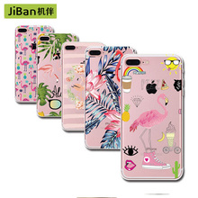 Wholesale Cute Pink Flamingo TPU Soft Case Cover For iPhone 6 6s Plus 5 5s SE 7 7plus Transparent Silicone Cell Phone Cases(China)