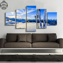 Landscape Canvas Painting Modern Poster 5 Pieces Ski View Wall Art Home Decor For Living Room Printed Modular Pictures Artwork