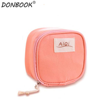 Donbook Linen Women Sanitary Napkin Bags Candy Colors Secret Storage Bags for Makeup Tools E06-2-005(China)