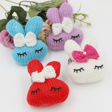Wholesale Price 30PCS Randomly Mixed Handmade Cute Rabbit Animal Head with Bow Toy Woven Crochet Button Patch for Girls Jewelry(China)
