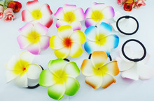 20pcs Wholesale 8cm large foam flower hair ribbons foam hawaiian plumeria flower elastic Hawaiian frangipani hair band hair rope(China)