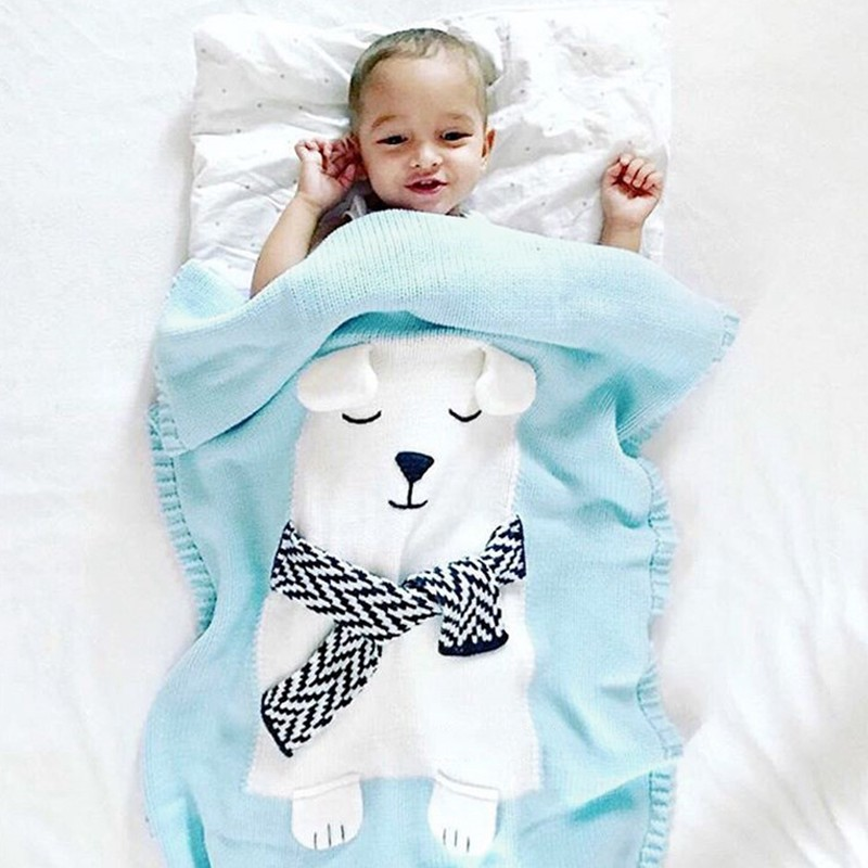 MOTOHOOD Cute Bear Cotton Baby Blankets Newborn Fashion Knitted Muslin Swaddle Wrap Baby Decoration Room Photography Accessories (2)