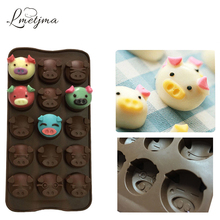 LMETJMA 15 Holes Silicone Cake Mold DIY Chocolate Mold Not-Stick Pig Cake Mold Pastry Tools PY0427-5(China)