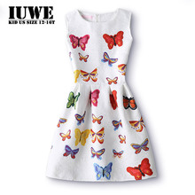 Girls Summer Dress 2017 Kids Dresses For Girls Of 12 Years Sleeveless Printed Big Size Princess Dress Teenagers Girls Clothes 16(China)