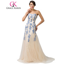 Grace Karin Sweetheart Blue Red Elegant Long Evening Dress Celebrity Lace Special Occasion Dresses Ball Gown Abendkleider 2017