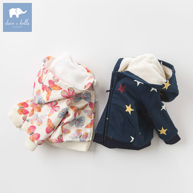 DB4136-C dave bella autumn infant baby girl fashion printed coats toddler girls Hooded coat children cute hight quality clothes<br>