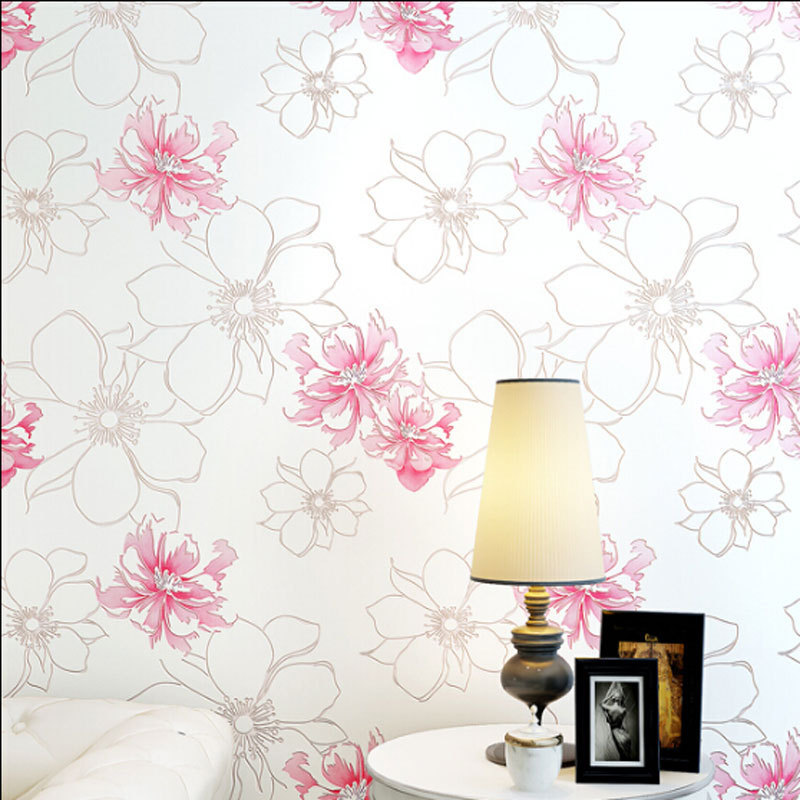 beibehang Hot Sale Romantic Floral Pastoral Wallpaper 3D Big Flower Mural Non-woven Room Decor Wallpapers Fresh Wall Paper 4<br>