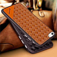Weave Pattern Soft TPU With Leather Back Skin Cover Case For Apple iPhone 5 5S Phone Fundas Coque For Apple iPhone SE(China)