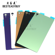 BESTEASYBUY For Sony xperia Z3 Back Glass D6603 rear Back Cover Glass Housing Z3 Battery Door Housing Glass with sticker