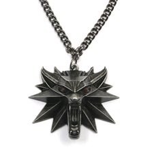 Vintage Wolf Head Necklace The witcher Pendant the witcher 3 wild hunt Figure Game Wizard witcher 3 Medallion Pendant Necklace(China)