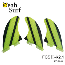 FCS2 Fins K2.1 Yellow Fibreglass Fins Hot Sale Surfboard FCSII Fins FCS 2 Fin In Surfing Paddle Board