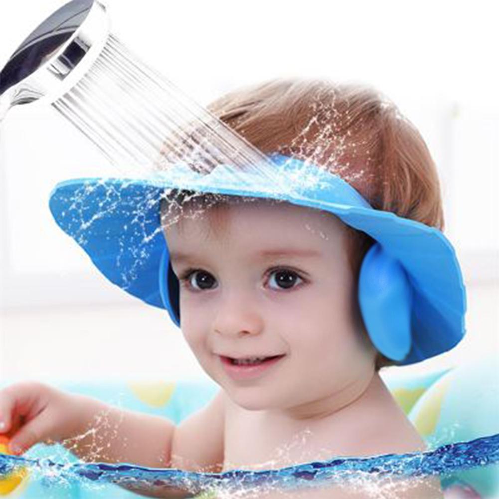 visera de ducha con protección para los ojos Gorro de ducha azul para bebés