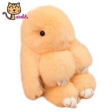 Kawaii Dead Rabbit Toys Real Fur Bunny Toys Rex Rabbit Hair Plush Dolls Bag Key Chain Toys Birthday Gifts Dolls Stuffed Toys
