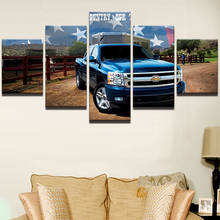 Modern Home Wall Art Decor Silverado Canvas Pictures Frame HD Printed Posters 5 Pieces Chevrolet Blue Pickup Truck Car Paintings