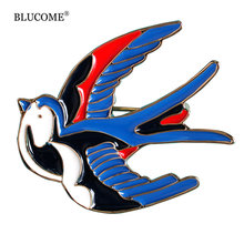 Cute Blue Bird Enamel Swallow Brooches Hijab Pins Up Metal Corsage Designer Wedding Shoulder Scarf Dresses Clips For Women Girls(China)
