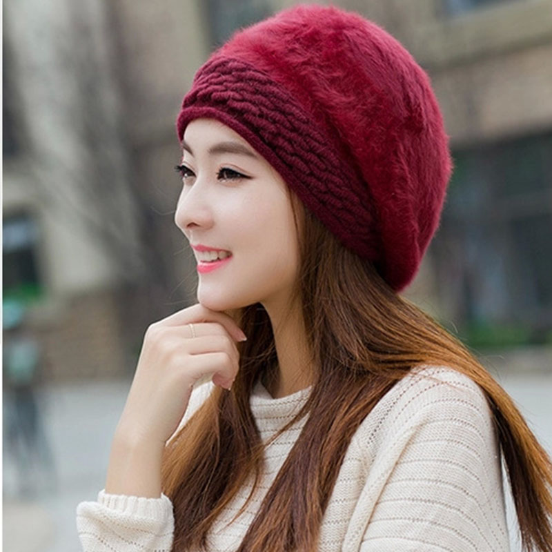 flower female rabbit fur pink cheap boinas fashion trend women winter free shipping gorras planas new design lady's beret(China)